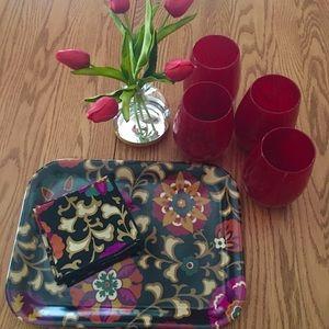 NWOT Vera Bradley Serving Platter &fabric napkins, used for sale